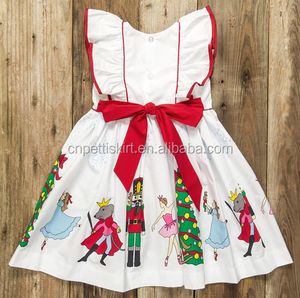 2017 china koya factory made 100% cotton fancy bow tie back kids christmas dress lovely fashion promotional wholesale girl dress