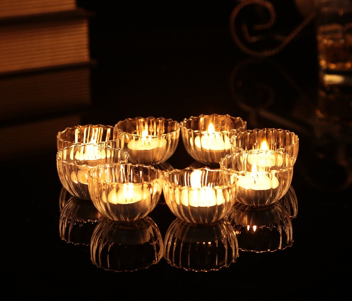 Get Quotations Clear Gl Bowl Candle Holders Floating Mini Cups X 8pcs Wishing Pool Decor
