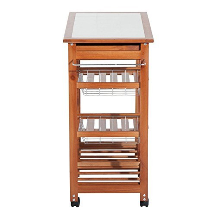 Natural bamboo rolling kitchen storage cart with wheels 7