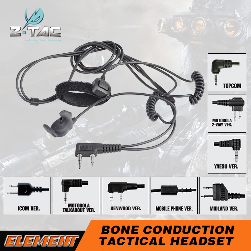 Z-Tactical bone conduction headset speaker communications accessories with finger PTT All-in-ear integrated microphone Z010