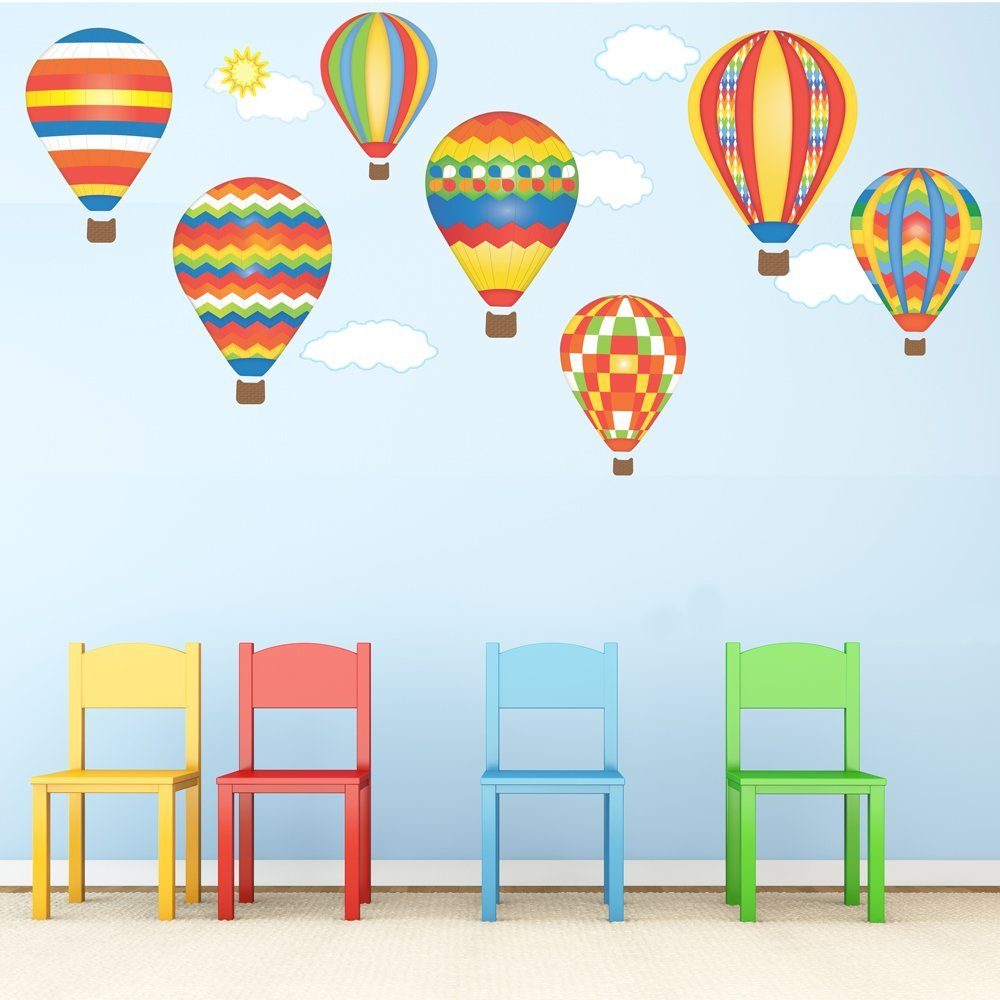 Buy Hot Air Balloons Wall Decals Red Blue Yellow Removable Reusable