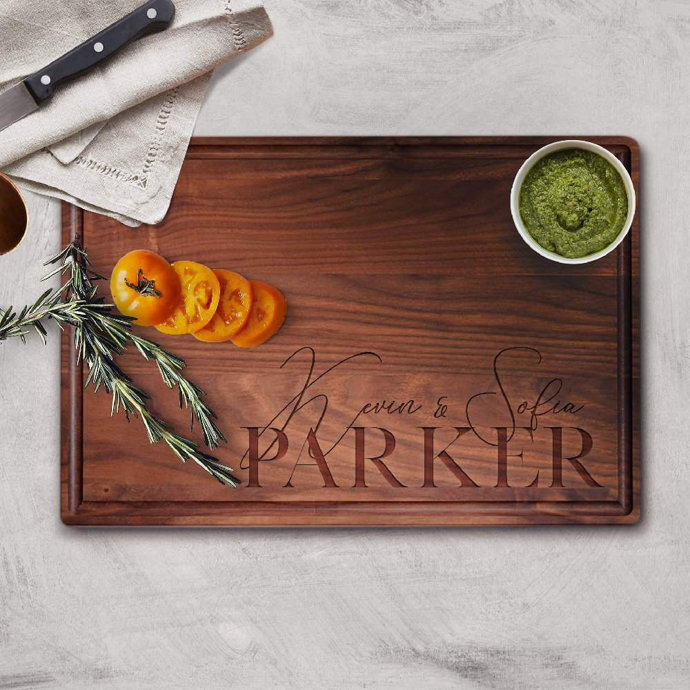 Personalized Cutting Board, Wood Cutting Board, Wedding Gifts for Couple, Housewarming Gift & Kitchen Sign Large Rectangular - Walnut #J