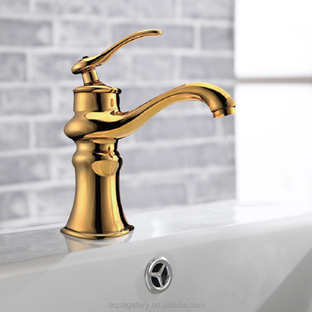 Luxury Royal Brass Bathroom Golden Wash Basin Faucet