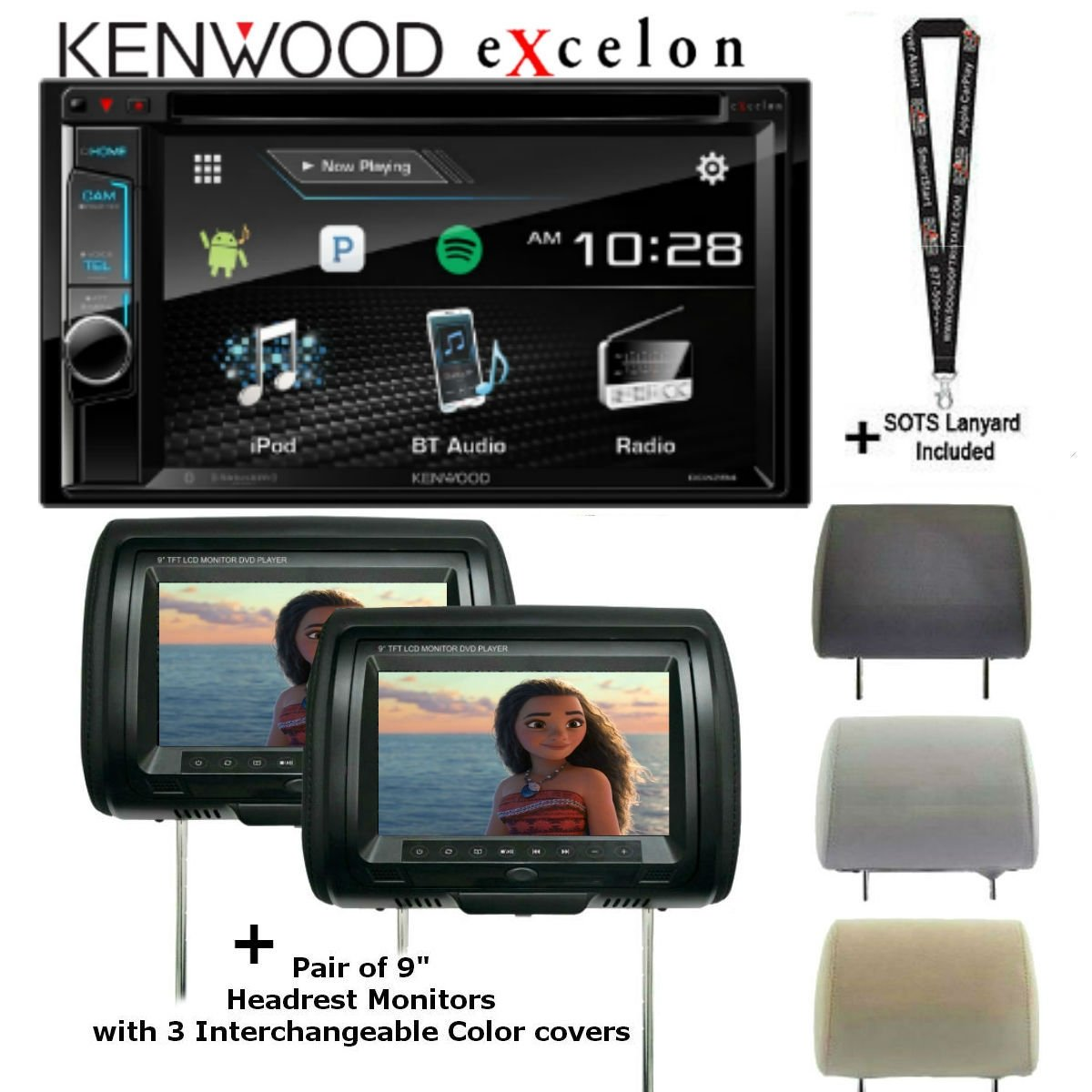 """Kenwood DDX395 6.2"""" In Dash Double Din DVD Receiver with Built in Bluetooth with TWO CLS-903M Concept 9"""" Headrest Monitors and a SOTS Lanyard"""