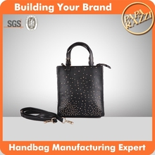 3537 New design Black PU Shopper Bag 2016 fashion trends