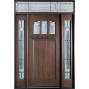 American Residential House Front Main Entrance Solid Wooden Door Designs
