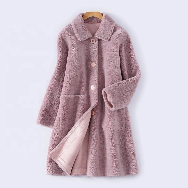 सर्दियों ऊन कोट महिलाओं देवियों ओवरकोट खाई कोट के साथ अनाज कपड़ा नरम झपकी के साथ