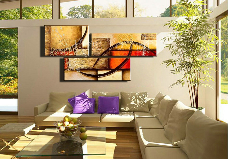 3pieces Modern Abstract Huge Wall Art Oil Painting On: 3 Piece Abstract Modern Canvas Wall Art Decorative Large