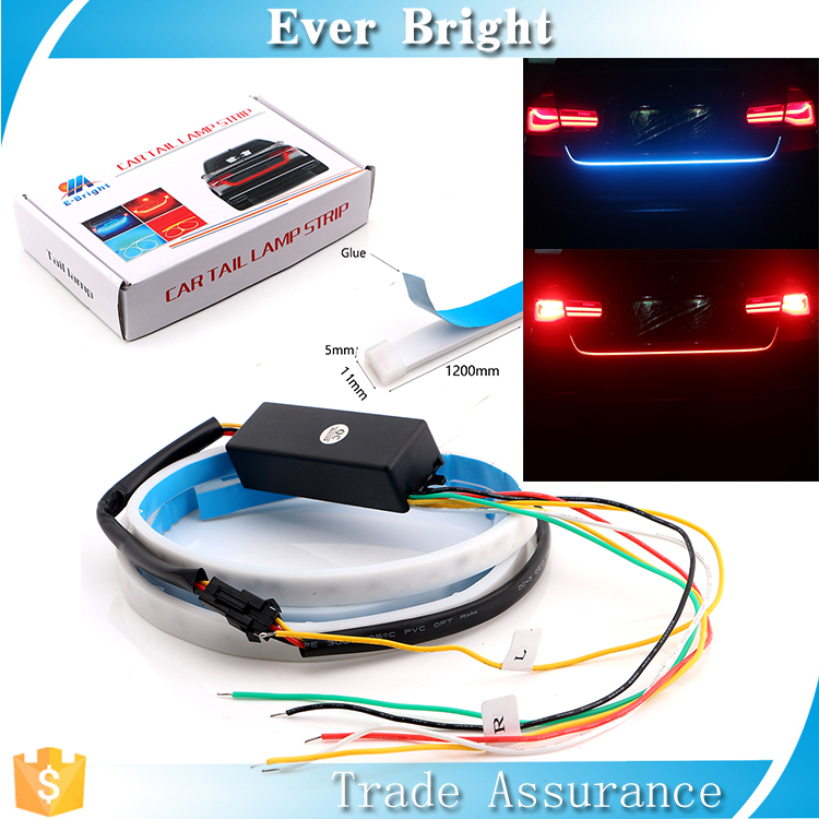 DC 12V Ice Blue and Red Turn Led Signal Light With Canbus Driver Universal All Car Tail Light Decorative Sequential Led Strip