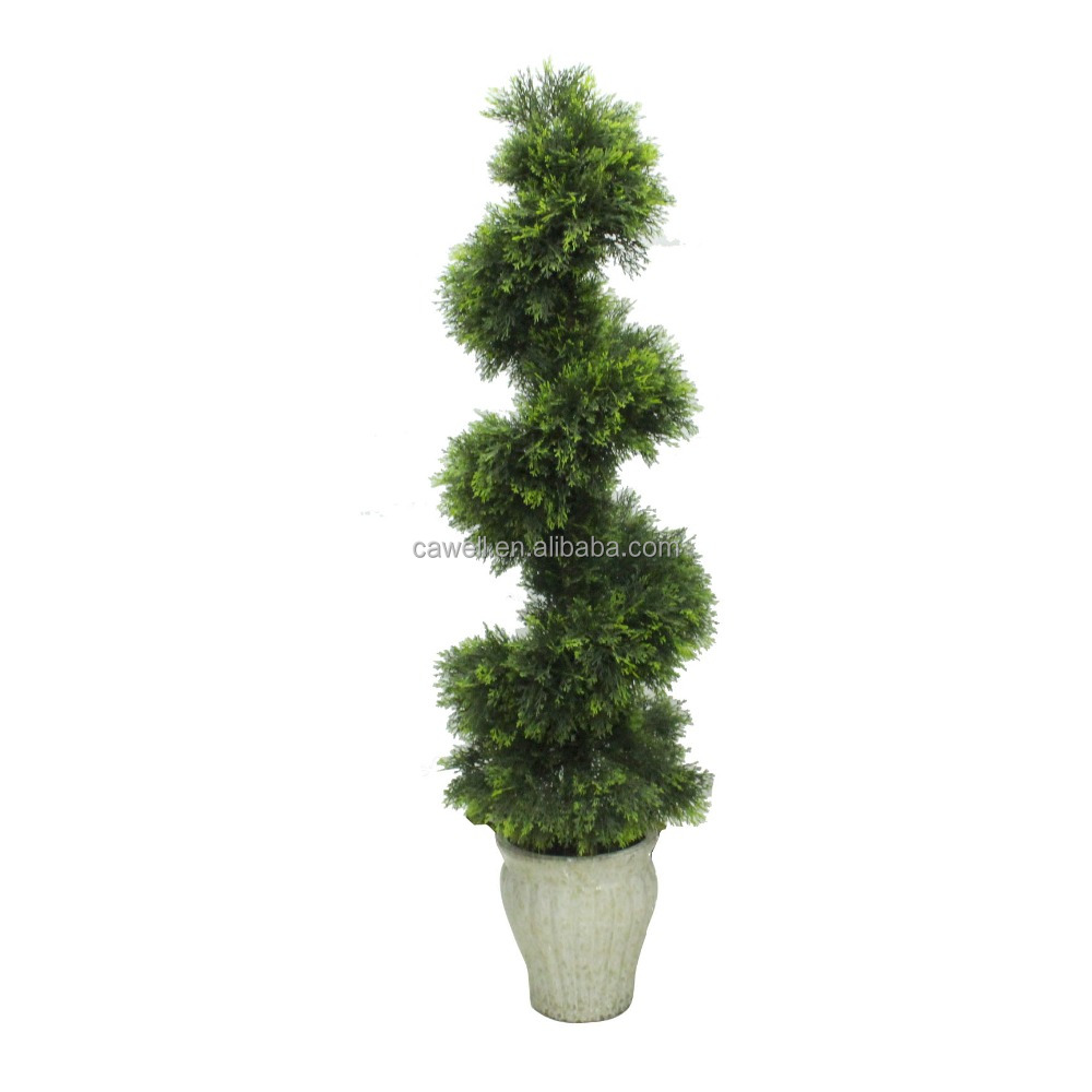 Simulation Cypress Topiary Spiral Bonsai Artificial Boxwood Tree For Chirstmas Decoration