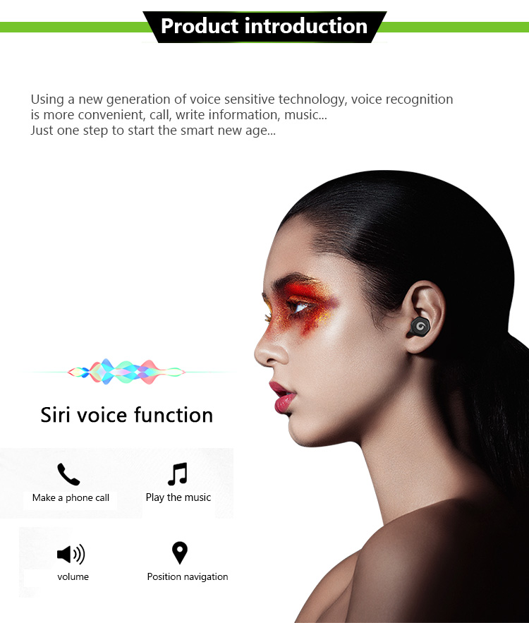 Touch Siri Control Waterproof IPX7 mini True Wireless Stereo TWS Headsets Headphones Earphones Blue tooth Earbuds