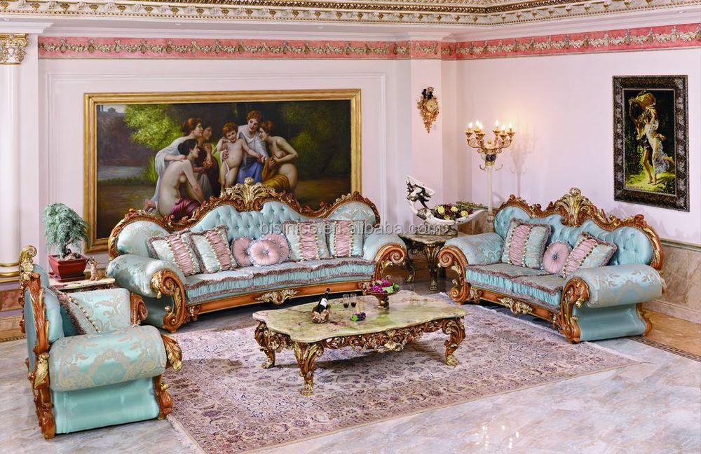 Mewah Perancis A Baroque Ruang Tamu Sofa Biru Set Istana Ukiran Kayu Berlapis