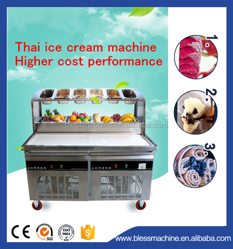 High production Quick frozen varies flavors thailand style roll fry ice cream machine with flat table