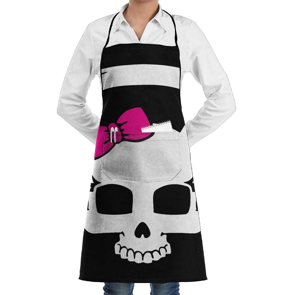 Pirate Skull Apron Lace Unisex Mens Womens Chef Adjustable Polyester Long Full Black Cooking Kitchen Aprons Bib With Pockets For Restaurant Baking Crafting Gardening BBQ Grill