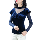 2019 New Design Shirts For Women Blouses Solid Color Deep V Neck Ladies Tops