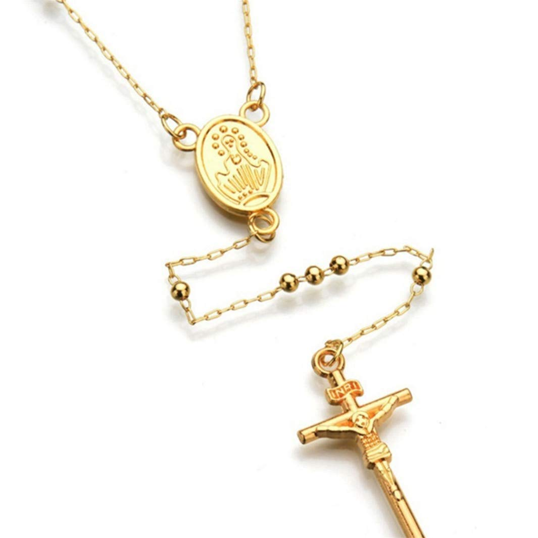 YouCY Fashion Cross Pendant Rosary Necklace Jesus Christ Crucifix Hip Hop Necklace Charm Women Necklace,Small Bead gold