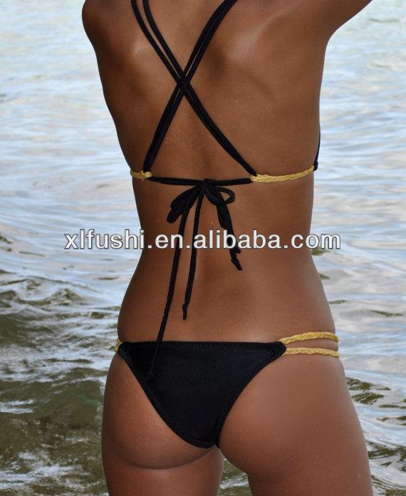 Black With Gold Braid Side Low Cut Cheeky Sexy Brazilian Bikinis ... 16d8dfe63f1