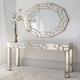 Unique design contemporary glass wood foyer console table and mirror