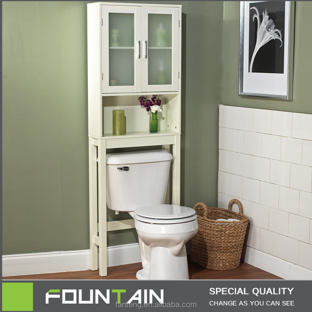 Frost Glass Shelved Bathroom Space Saver Cabinet White with Storage Over the Toilet Freestanding Bathroom Storage Cabinet