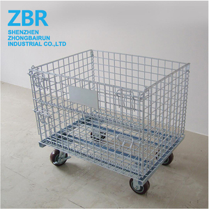 Folding Metal Wire Mesh Pallet Storage Cages Container with Wheels