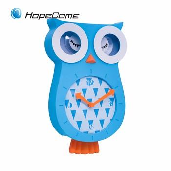 Funny For Children Cartoon Animals Owl Wall Clock