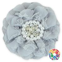 16 Different Colors Ribbon Silk Flower Wedding Party Decoration Rhinestone Flowers