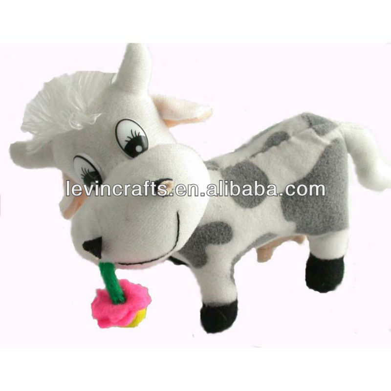 LE h1663 promotion white plush milch cow animal toy