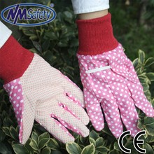 NMSAFETY lady gardening gloves with pvc dotted on palm work gloves