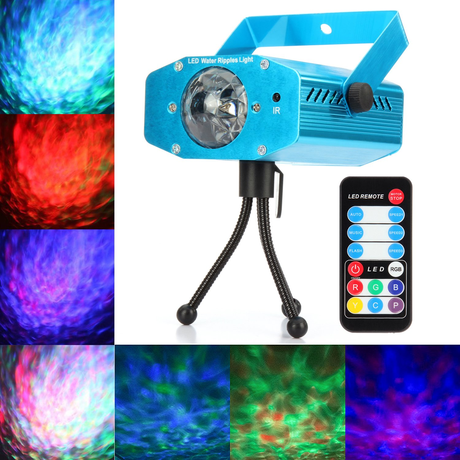 LED Disco DJ Party Laser Lights, Mini Auto Flash 7 RGB Color Stage Strobe Lights Sound Activated for Parties Room Show Birthday Party Wedding Dance Lighting with Remote Control, Blue