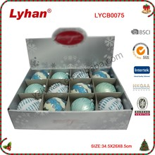 8cm ice blue hand painted glass ball for Christmas tree Decoration