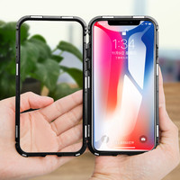 New Cell Phone Magnetic Case For iPhone X 8 7 6s 6 Plus Case Ultra Slim PC Frame Tempered Glass Cover Magnetic Phone Case