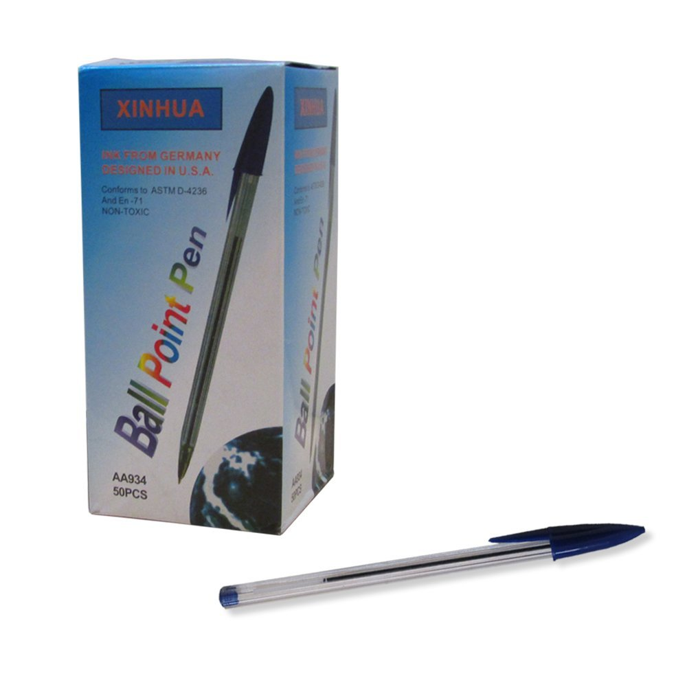 Bundle Pack Of 50 Pens!! Blue Ink Ballpoint Pens For Home, School, Or Office. By Mega Stationers