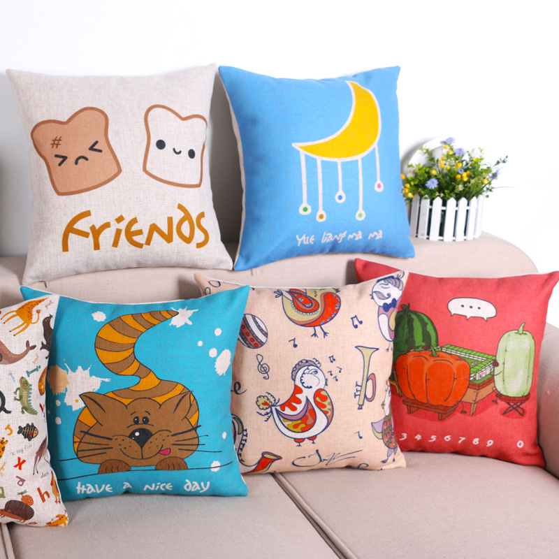 45cm We are Friends Red Fashion Cotton Linen Fabric Throw Pillow Hot Sale 18 Inch New Home Decor Sofa Car Cushion Office Nap FR