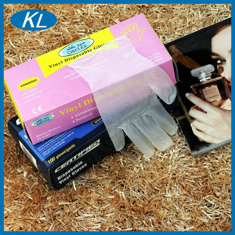 Comfortable disposable safety fully coated PVC powder free gloves with ce for beauty salon