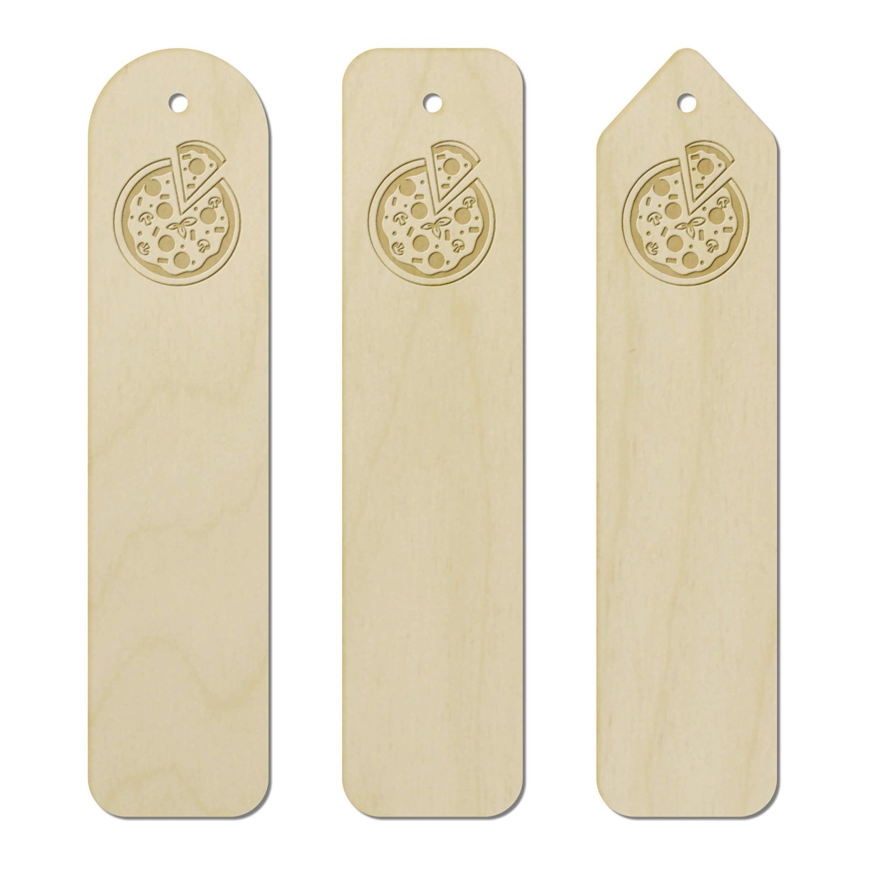 3 x 'Pizza' Engraved Birch Bookmarks (BK00001157)