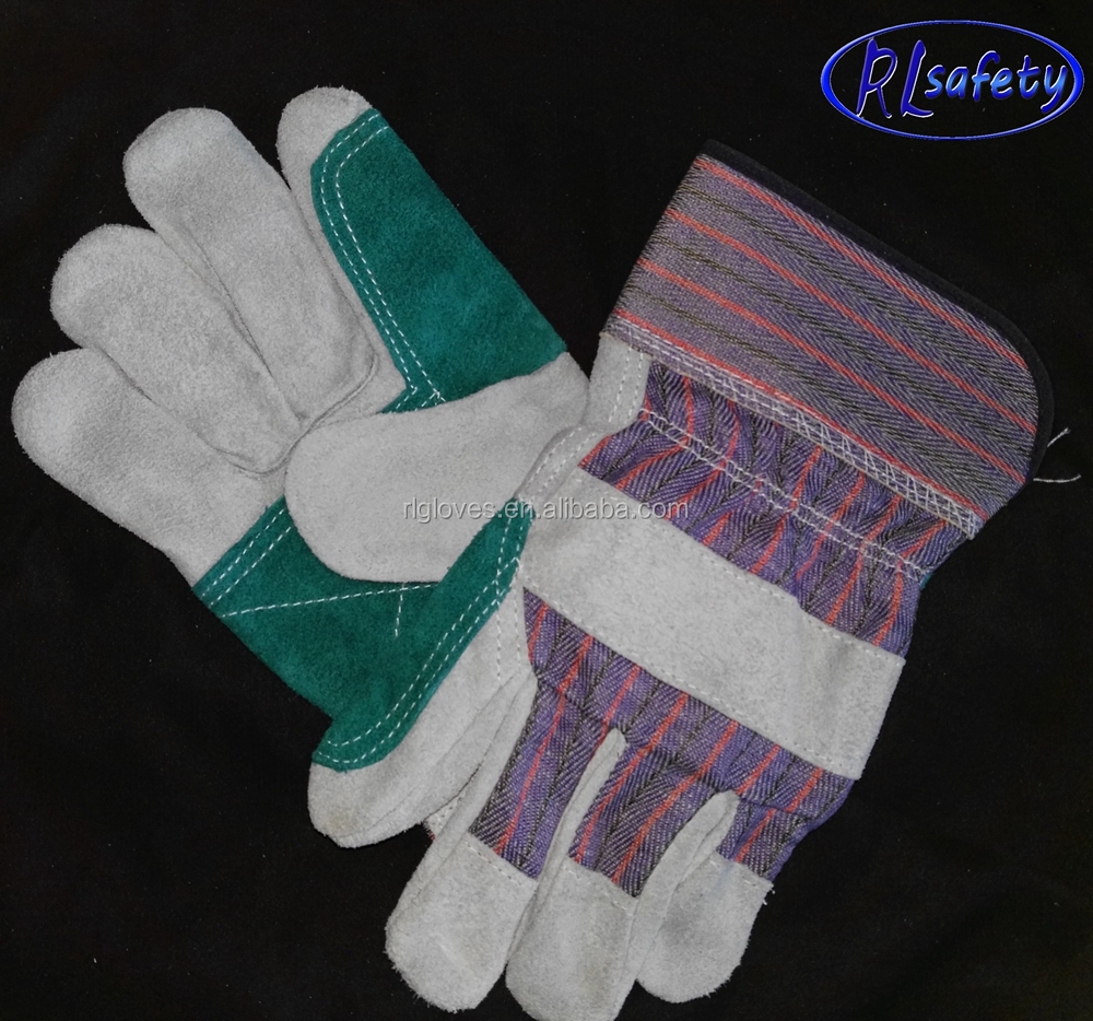 X stitching leather palm gloves with Green double palm with thumb and index,Green/grey/red stripes on back side