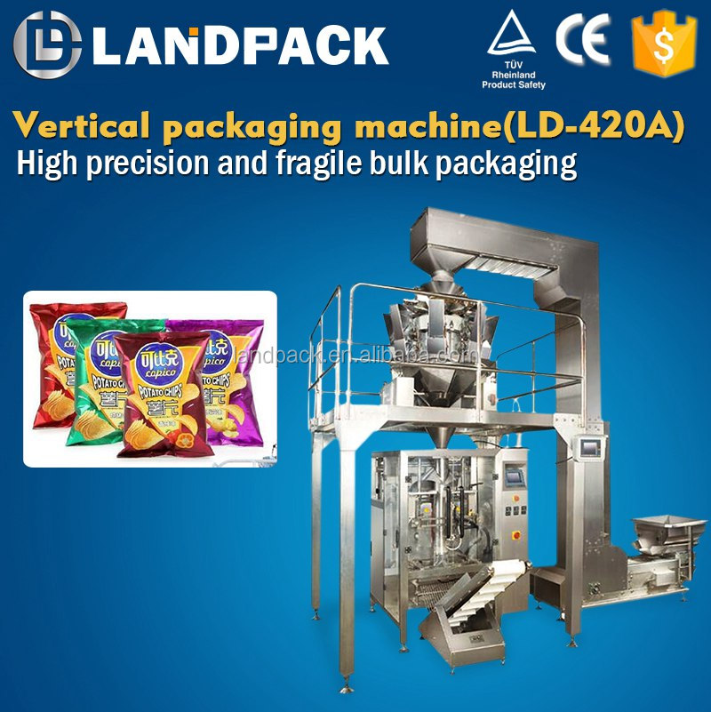 Small Vertical Inflatable Potato Chips Plastic Bag Sealer Machine