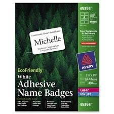 "Avery Consumer Products : Labels, Name Badges, 2-1/3""x3-3/8"", 400/BX, White -:- Sold as 2 Packs of - 400 - / - Total of 800 Each"