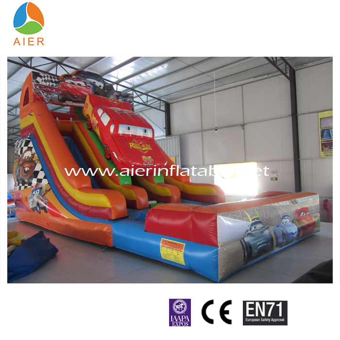 Inflatable wet/dry car slide, double lane slide with water pipe & shower head, Wet & Dry slide with big pool & air mat