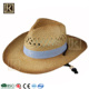 JAKIJAYI brand custom logo men women summer natural color paper straw cowboy crochet hat with rope