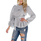 81022-MX17 puff sleeve blouse stripe tunic design for ladies
