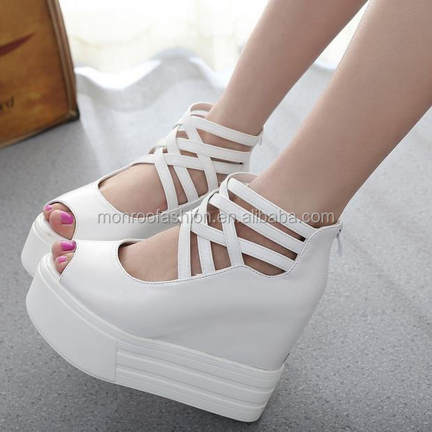 Monroo 2016 latest summer wedge sandals waterproof wedge platform girls high heel sandals