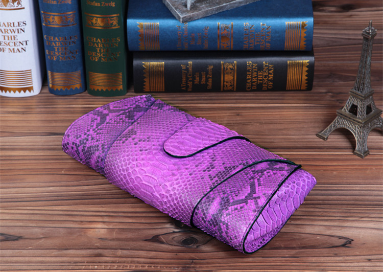 Luxury Ladies Genuine Snake Skin Clutch Bag for Women Purple Made in China