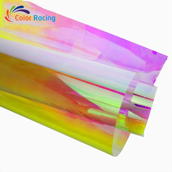Chameleon purple to blue glass decorative self adhesive film rainbow film iridescent film roll with wholesale price