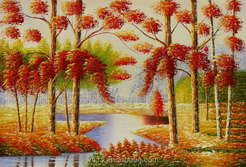Guangzhou Manufacturer directly offer orange landscape oil painting