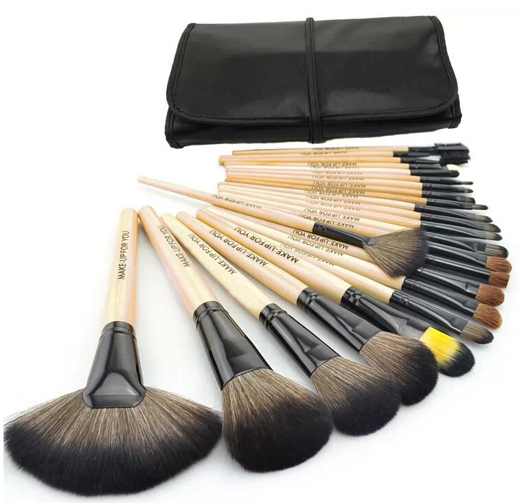 New 2014 Hot Sale Professional Cosmetic 24 pcs Makeup Brush Set Tools Brand Make Up Brushes Toiletry Kit With Case Free Shipping
