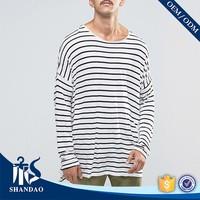 2017 Shandao Wholesale Customized Yarn Dyed 180g 100% Cotton Stripe Casual Wholesale T Shirts
