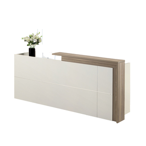 White table New wooden counter office reception desk modern