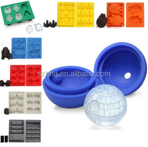 Set of 7 Han Solo/ Darth Vader/ Storm Trooper/Boba Fett/ X-wing Fighter/Millennium Falcon/R2-D2 Silicone Ice Cube Trays