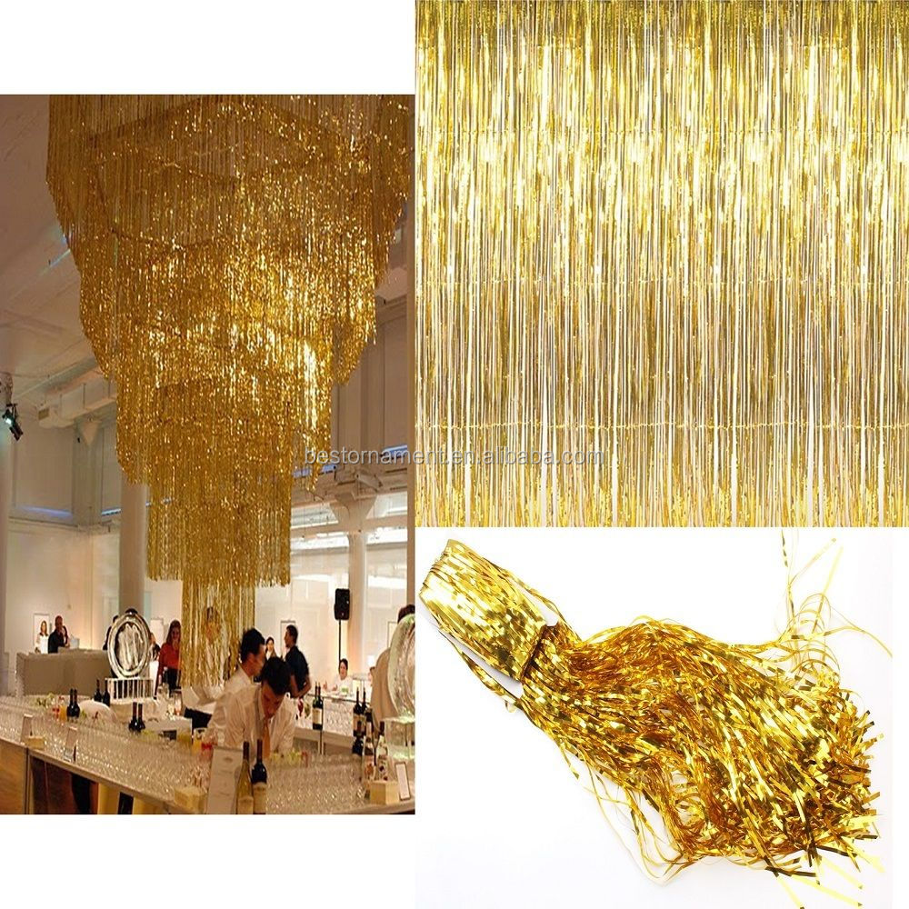 2 M/3 M Metallic Shimmer Klatergoud Folie Fringe Gordijn Voor Bruiloft/Party Decors